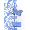 Baby Blue Damask Butterfly Wedding Invitation